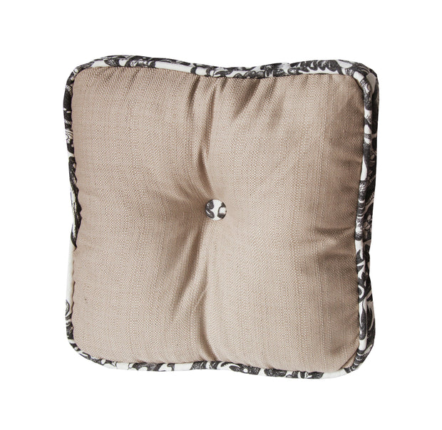 Augusta Buttoned Box Pillow w/ Toile Piping, 18x18