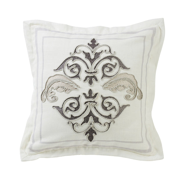 Charlotte Square Outlined Embroidered Pillow w/ Flange, 18x18