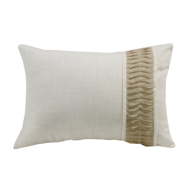 Newport White Linen Pillow w/ Ruching Detail, 16x24