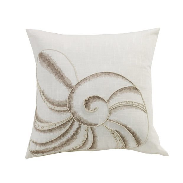 Newport Seashell Embroidery Throw Pillow, 18x18
