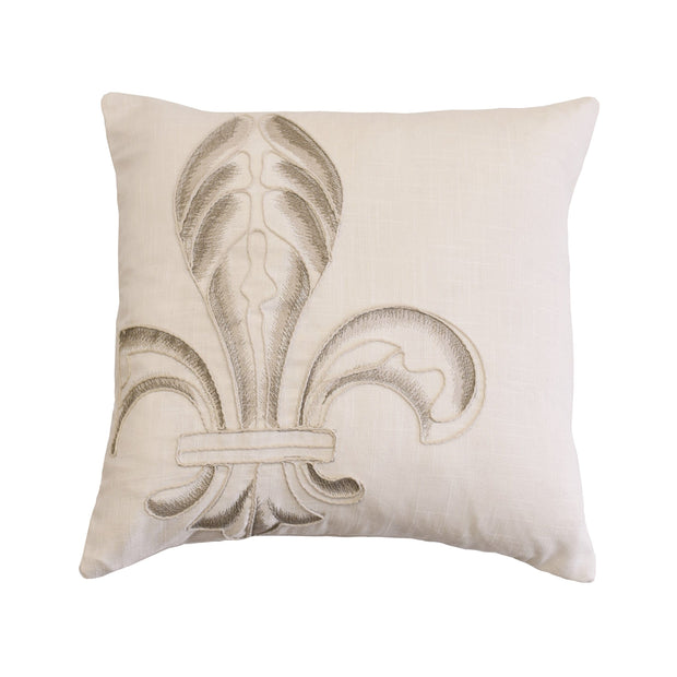 Newport Embroidery Fleur De Lis Throw Pillow, 18x18