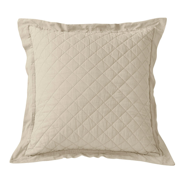 Linen & Cotton Diamond Quilted Euro Sham, 7 Colors