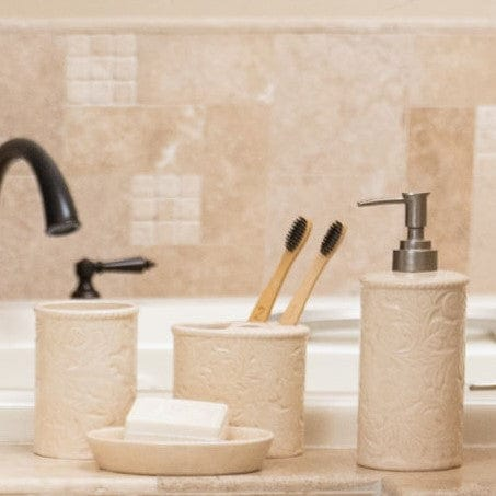 Savannah 4-PC Bath Countertop Accessory Set, Cream