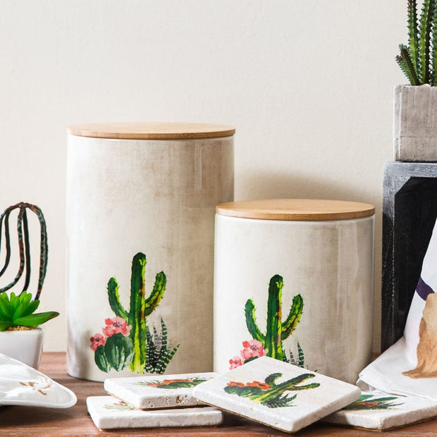 2-PC Succulent Design Canister Set