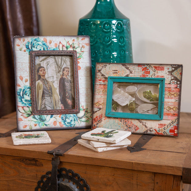 Turquoise & Peach Floral Wood Picture Frame, 5x7