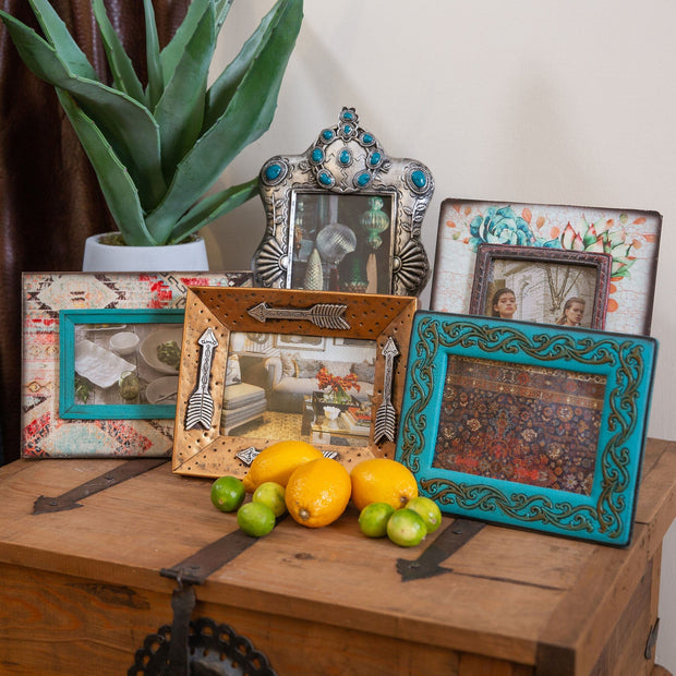 Turquoise Leather Scrolled Picture Frame, 5x7