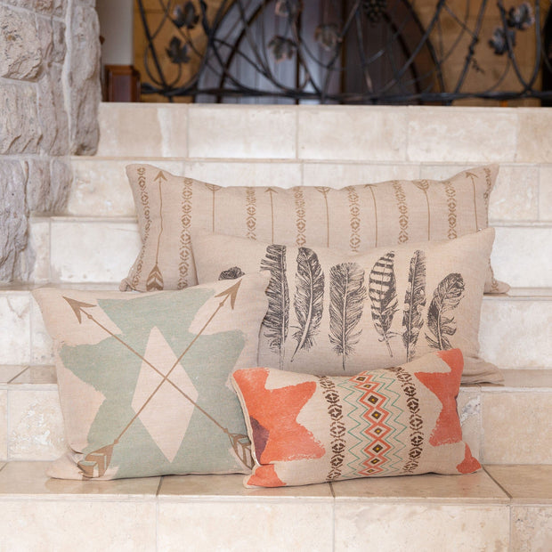 Feather Burlap Lumbar Pillow