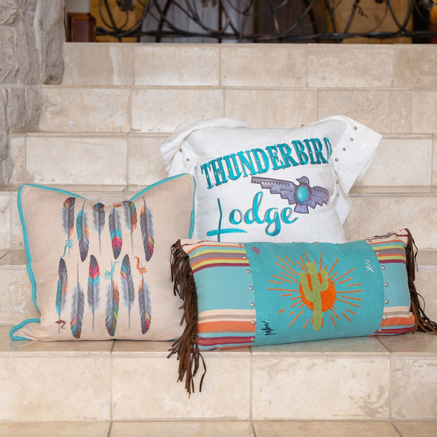 "Turquoise Embroidered ""Thunderbird Lodge"" Linen Pillow, 18x18"