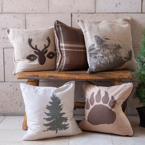 Faux Suede Bear Claw Pillow, Reverse Faux Leather
