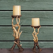 Antler Pillar Candle Holders (Set of 2)