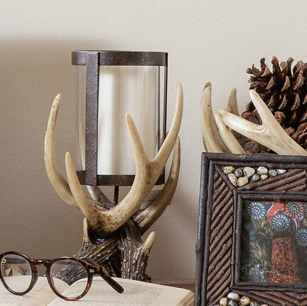 Antler Pillar Candle Holder w/ Glass Hurricane