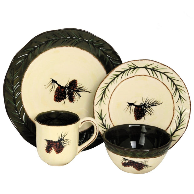 Pine Cone 23-PC Dinnerware and Canister Set