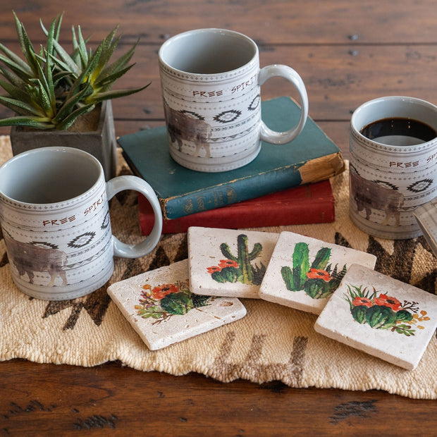 Free Spirit Mug and Cactus Coaster 8 PC Set