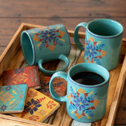 Turquoise Bonita Mug and Coaster 8 PC Set
