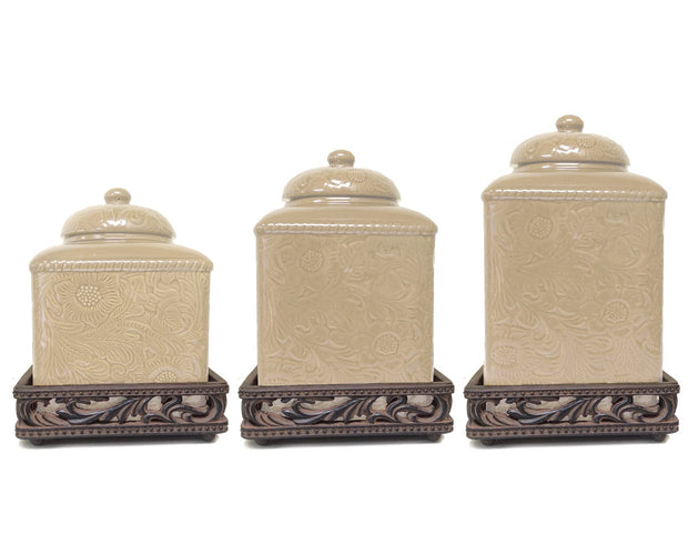 Savannah Canister Set with Base, Cream