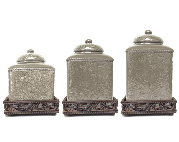 Savannah Canister Set with Base, Taupe