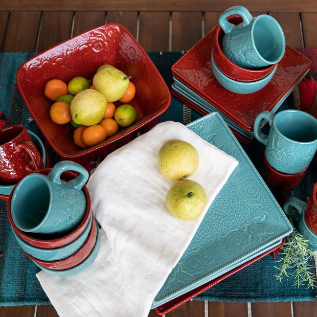 Savannah 21 PC Dinnerware and Canister Set, Turquoise & Red