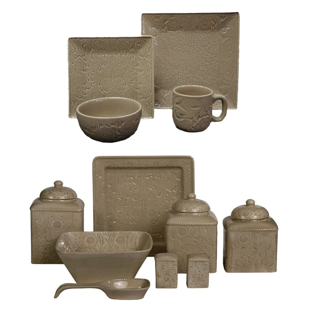 Savannah 24-PC Dinnerware and Canister Set, Cream & Taupe