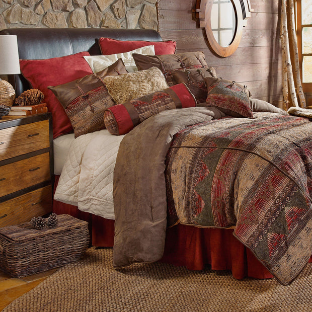 Sierra 7-PC Comforter Set - Red/Tan/Brown