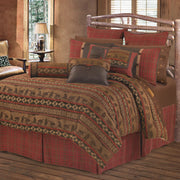 Cascade Lodge Red/Brown Plaid & Leather Reversible Euro Sham