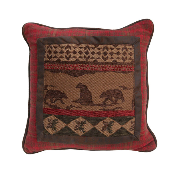 Cascade Lodge Bear Throw Pillow, Red Plaid, 18x18
