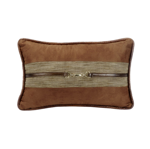 Highland Lodge Suede Lumbar Pillow w/ Buckle Detail, 12x19