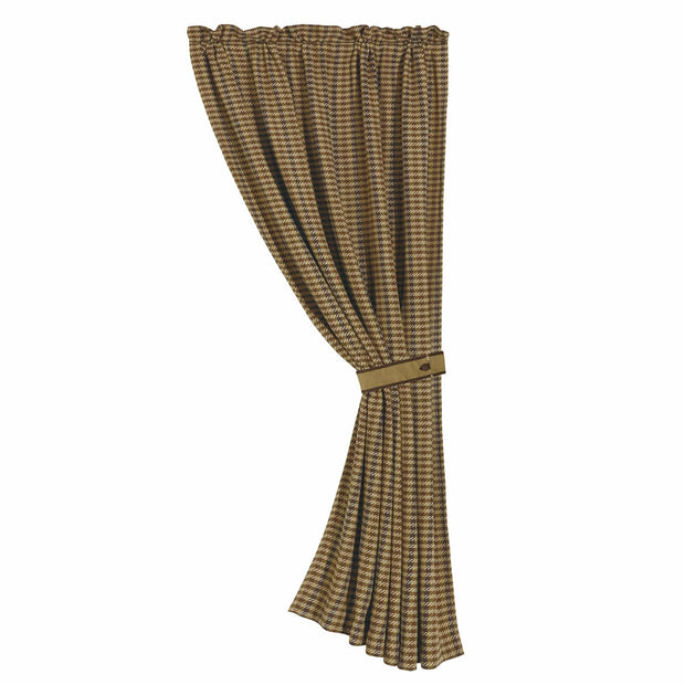 Crestwood Single Panel Curtain w/ Chocolate Brown Houndstooth