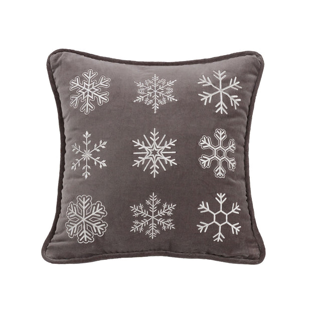 Whistler Gray Velvet Snowflake Throw Pillow, 18x18