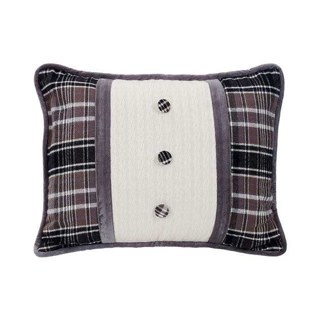 Whistler Velvet Oblong Pillow, Black, Gray & Cream Plaid, 16x21