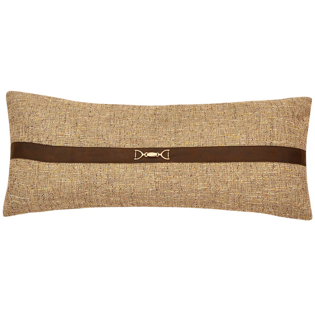 Tweed Lumbar Pillow with buckle details, 14x36