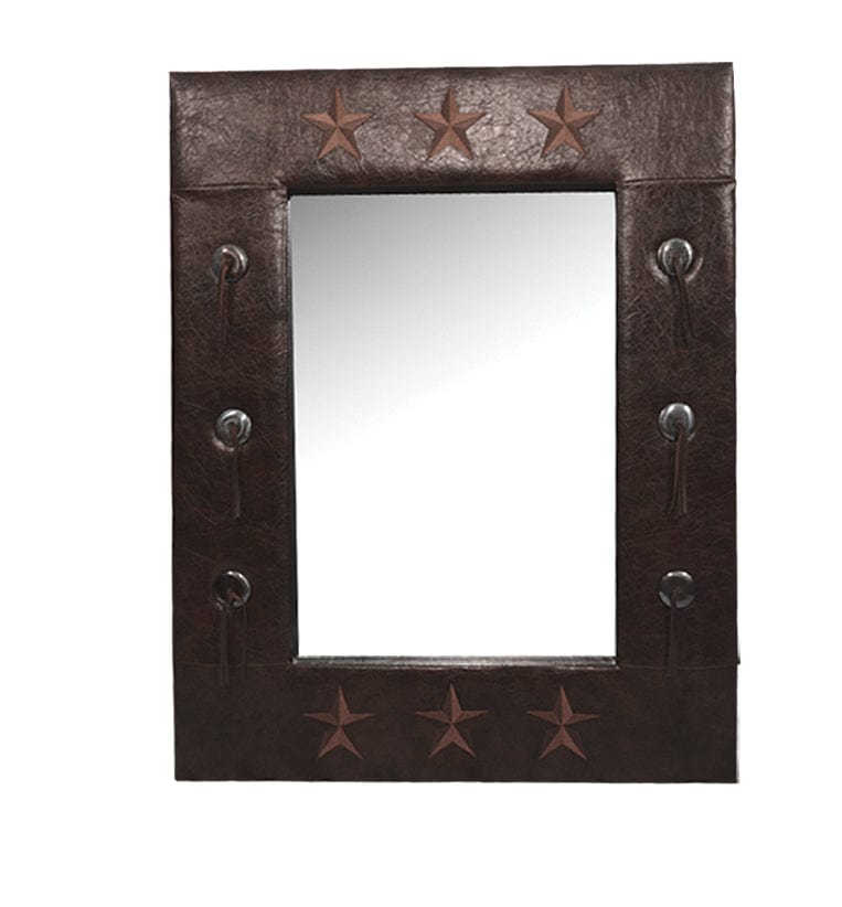 Star Faux Leather Mirror 30 X38 Hiend Accents