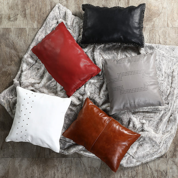 White (Genuine) Leather Studded Throw Pillow