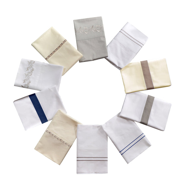 350 TC White Sheet Set with Navy Flange (Queen/King)