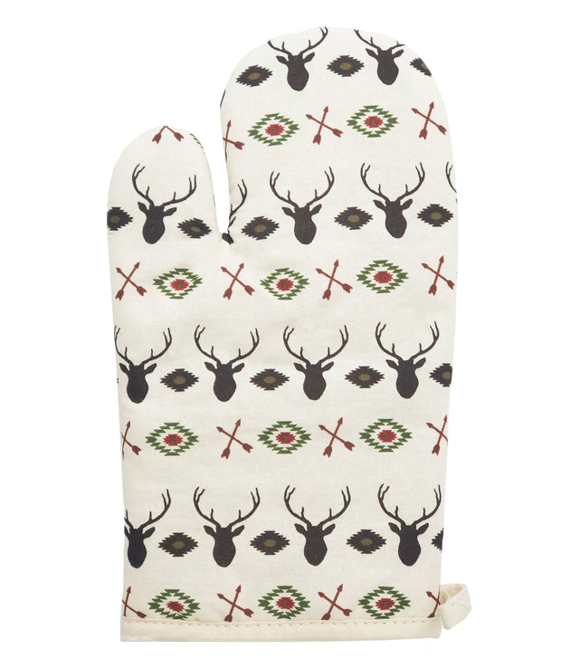5-PC Aztec Multi Deer Printed Oven Mitts