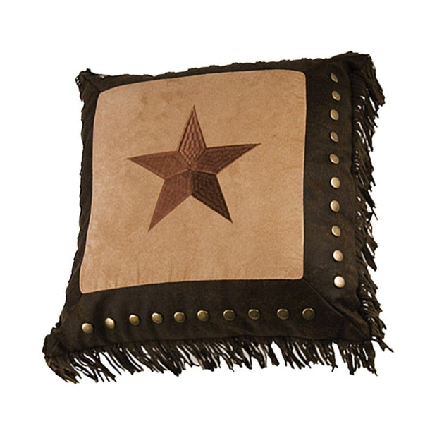 Dark Tan Star Throw Pillow w/ Studs & Fringe