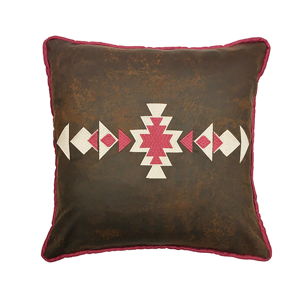 Faux Leather Throw Pillow w/ Aztec Design, 18x18