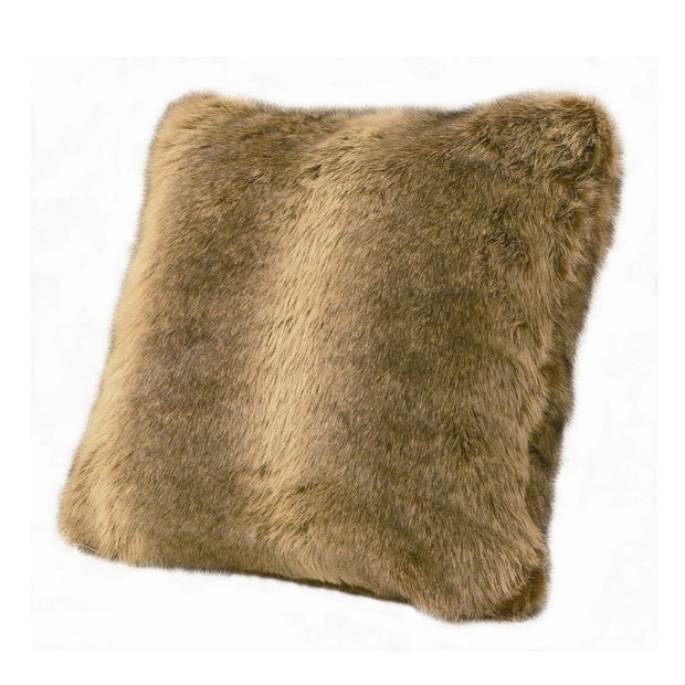 Oversized Wolf Faux Fur Throw Pillow, 22x22