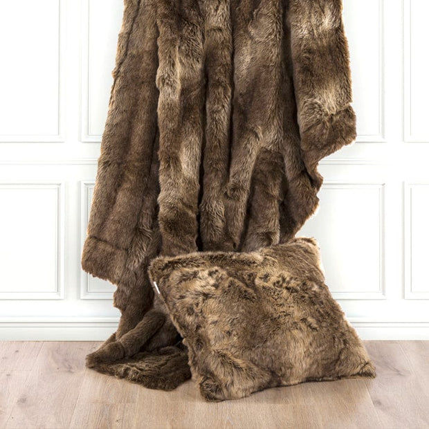 Faux Wolf Fur Oversized Throw Blanket, 60x90