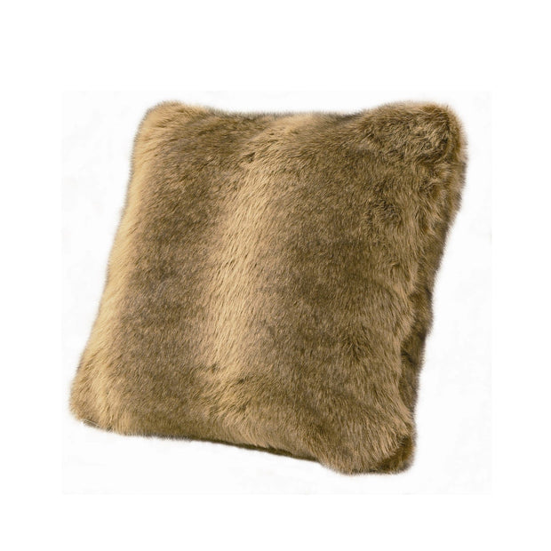 Faux Fur Wolf Throw Pillow, 18x18