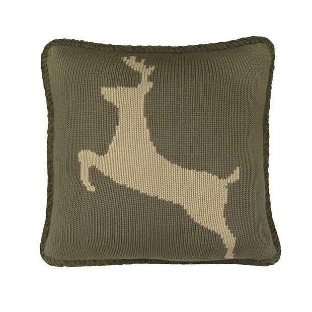 Knitted Deer Reversible Throw Pillow