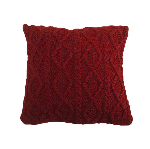 Cable Knit Soft Diamond Throw Pillow, 3 Colors, 18x18