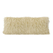 Mongolian Faux Fur Lumbar Pillow, 3 Colors, 14x36