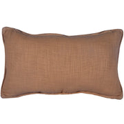 Soft Tan Basket Weave (Genuine) Leather Pillow With Stud Accents