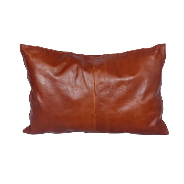 Buckskin (Genuine) Leather Lumbar Pillow, Cognac, 24x16