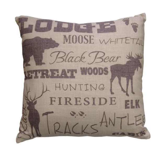 Lodge Text Collage Decorative Throw Pillow, 18x18