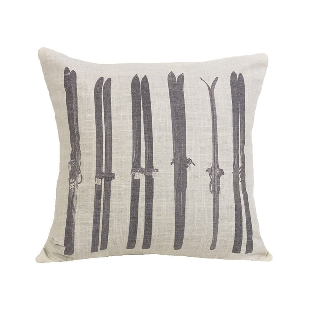 Chalet Gray Printed Ski Throw Pillow, 18x18