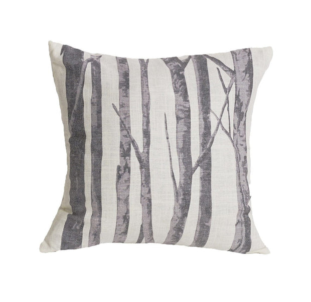 Printed Branches Cream & Gray Throw Pillow, 18x18