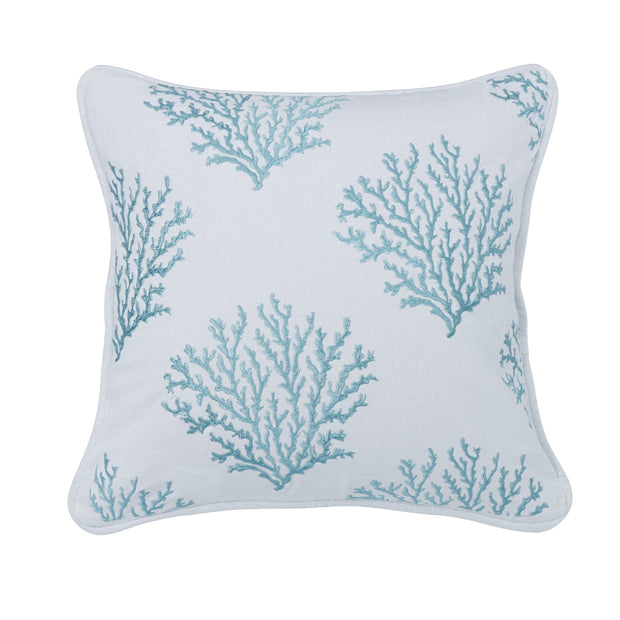 Catalina Aqua Coral Embroidered Throw Pillow, 18x18