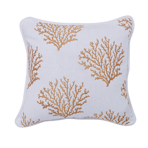 Catalina Saffron Coral Embroidered Throw Pillow, 18x18