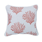 Salmon Colored Embroidered coral pillow, 18x18
